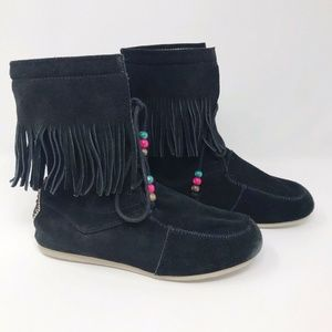 Freewaters Songbird Ankle Boots Suede Fringe Boho